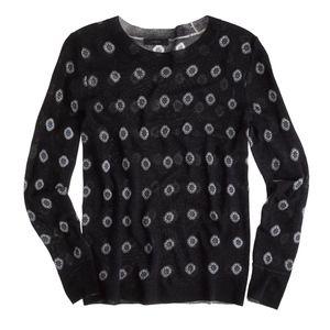 New JCREW Navy Tippi Crewneck Sweater Foulard Dot